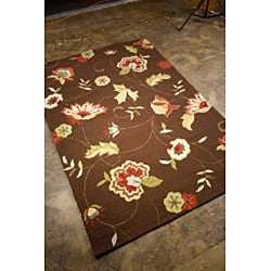 Hand-Hooked Brown/ Red Floral Rug (2' x 3')