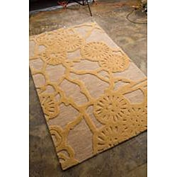 Hand-tufted Gold/Beige Abstract Rug (7'6 x 9'6)