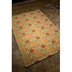 Hand-hooked Green Area Rug (2' x 3')