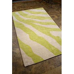 Hand-tufted Green Wool Area Rug (5' x 8')