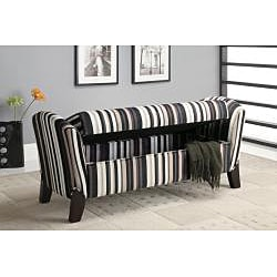Striped Storage Arm Bench Ottoman