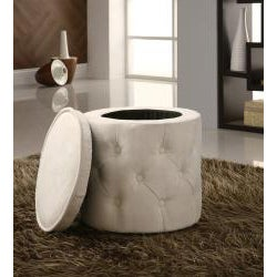 Tufted Fabric Beige Round Storage Ottoman