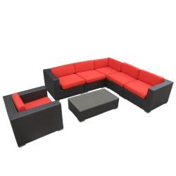 Corona Outdoor Patio Espresso and Red 7-Piece Sectional Sofa