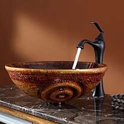 Kraus Tiger Eye Glass Vessel Sink and Ventus Faucet Oil Rubbed Bronze