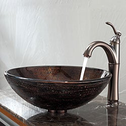 Kraus Copper Illusion Glass Vessel Sink and Riviera Faucet Oil Rubbed Bronze