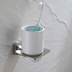 Kraus Fortis Bathroom Accessories - Wall-mounted Ceramic Tumbler Holder Brushed Nickel
