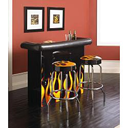 Flame 50-inch Wood Home Bar