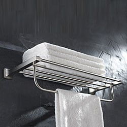 Kraus Fortis Brushed Nickel Bath Towel Rack with Towel Bar
