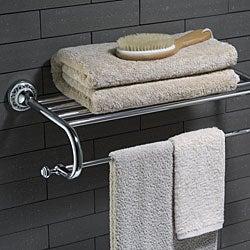 Kraus Apollo Bathroom Accessories - Bath Towel Rack with Towel Bar Chrome