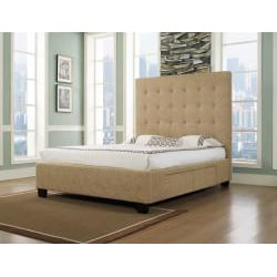 Malibu-X Eastern Almond Fabric 4-drawer King-size Storage Bed