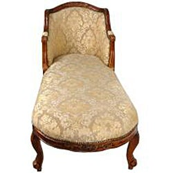 Beige Damask 'Queen Anne' Chaise Lounge (China)