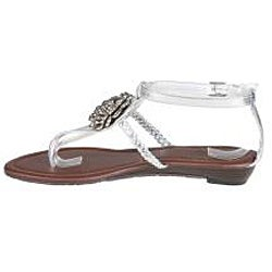 Refresh by Beston Women's 'LEAH-09' Silver T-Strap Sandals