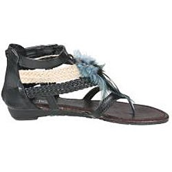Refresh by Beston Women's 'LEAH-05' Gladiator T-strap Feather Accent Sandals
