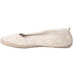 Refresh by Beston Women's 'KACIA-03' White Crochet Knit Espadrille Flats