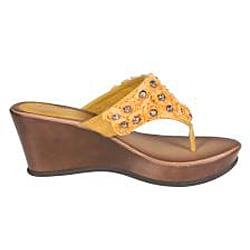 Refresh by Beston Women's 'Summer-03' Yellow Wedge Sandal