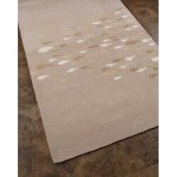 Hand-tufted Sand Wool and Art Silk Rug (2' x 3')