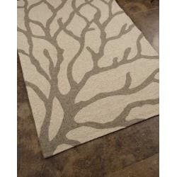 Hand-hooked Abstract Gray Indoor/ Outdoor Area Rug (5' x 7'6)