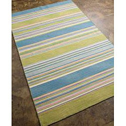 Flat Weave Blue/ Green Wool Rug (5' x 8')