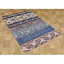 Alliyah Handmade New Zeeland Blend Light Blue Wool Rug (8' x 10')
