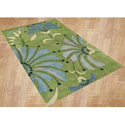 Handmade New Zealand Wool Blend Light Green Floral Area Rug (8 x 10)