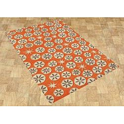 Handmade New Zealand Wool Blend Coral Rose Area Rug (5' x 8')