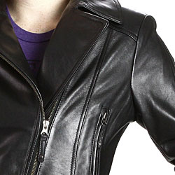 United Face Womens Black Leather Motorcycle Jacket