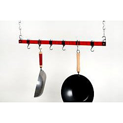 Concept Housewares Red Acrylic Dual Track Ceiling Pot Rack