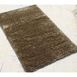 Hand-woven Brown Wool-blend Shag Rug (8' x 10')