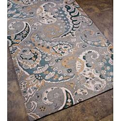 Hand-tufted Grey Paisley Wool Rug (8' x 11')
