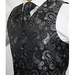 Ferrecci Men's Black/ Grey Paisley 4-piece Vest Set