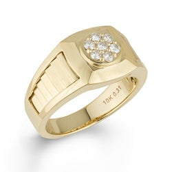10k Yellow Gold Men's 1/3ct TDW Round Diamond Ring (H-I, I1-I2)