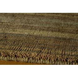 Hand-loomed Loft Brown Gabbeh Wool Border Rug (2' x 3')