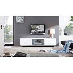 Natasha White/ Stainless Steel Modern TV Stand