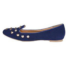 Neway by Bestom Women's Blue Studded Smoking Flats