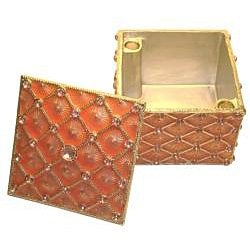 Cristiani Square Gold-plated Pewter Crystal Trinket Box