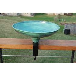 Powder Coated 'Verdi Gris' Round Steel Deck Mount Birdbath