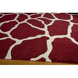 Power-Loomed Giraffe Burgundy Wool Rug (2' x 3')