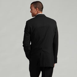 Andrew Marc New York Men's Peak Lapel 2-button Black Wool Suit