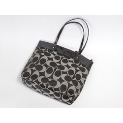 Coach 'Laura North South' Black Grey Signature Tote Bag