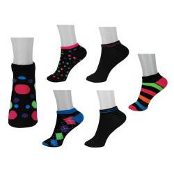 All Mixed Up Kids' Black/ Neon Anklet Socks (Pack of 6)