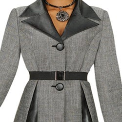 Divine Apparel Women's Plus Size Faux Leather 2-piece Belted Skirt Suit