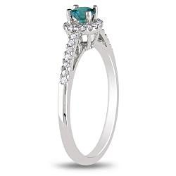 Miadora 14k White Gold 3/8ct TDW Blue and White Diamond Halo Ring (H-I, I1-I2)