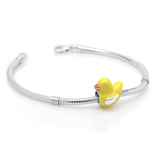 Chuvora Sterling Silver Yellow Enamel Ducky Charm Bead