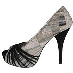Elegant by Beston Women's 'Belly-1' Black Peep-toe Pumps