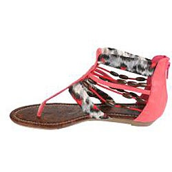 Elegant by Beston Women's 'Cherrie' Coral Gladiator Sandals