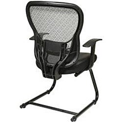 Offiice Star Deluxe R2 SpaceGrid Back Visitors Chair with Fixed Arms and Leather Seat