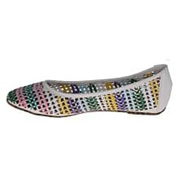 Elegant by Beston Women's 'Zinnia-3' White Woven Flats