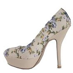 Jacobies by Beston Women's 'Sophia-067' Blue Flower Platform Pumps