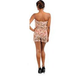 Stanzino Women's Light Brown Strapless Floral Romper