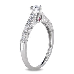 Miadora 14k Gold 1/4ct TDW Diamond and Pink Sapphire Engagement Ring (G-H, I1-I2)